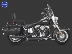 "Picture of V & H Twin Slash 3 1/4"" Slip On Schwarz / Softail ab 07 / EC/ABE"